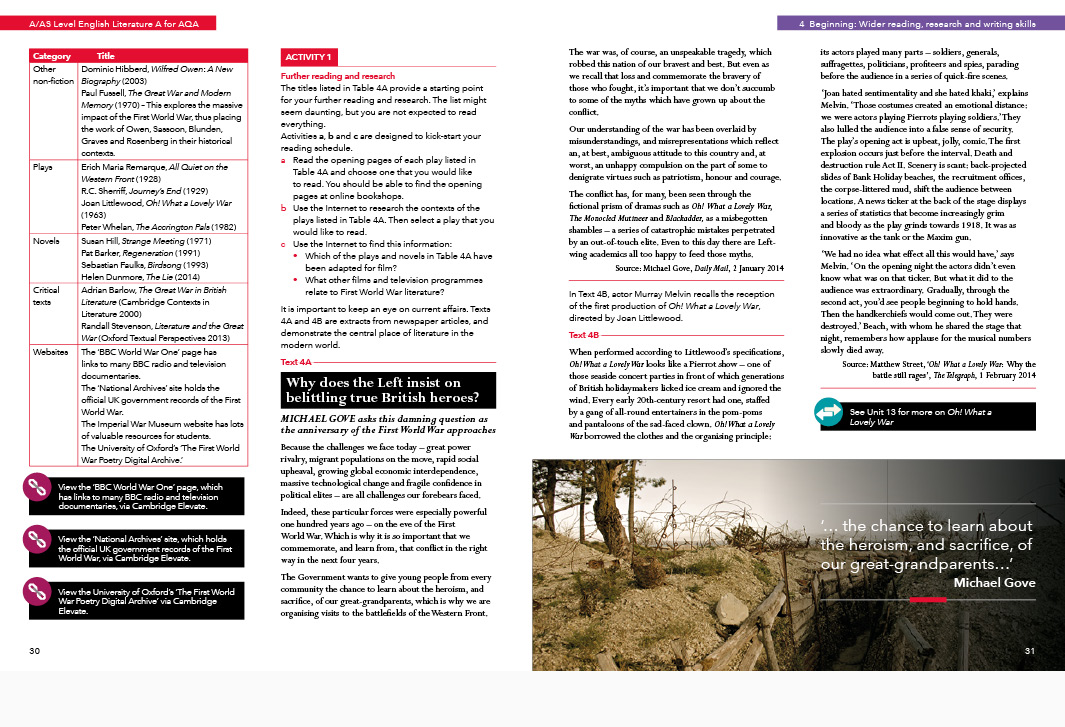 Cambridge University Press AQA A Level English Secondary Education Student's book