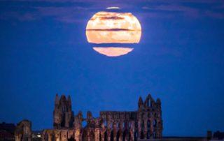 Supermoon, bright, big, lunar, Yorkshire, UK